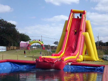 """The """"Super Slider"""" is billed as the world's tallest inflatable waterslide."""
