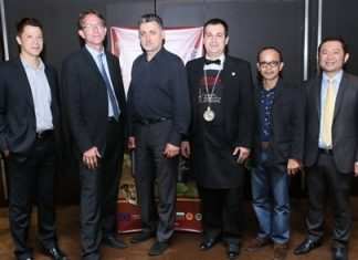 """(From left): Joseph Henry, Managing Director of Vivaldi Seasons Co., Ltd.; MarkAnthony Chesner, Project Manager, Plovdiv Regional Vine and Wine Chamber, """"TRAKIA""""; Nikolay Dimitrov, Project Manager, Thracian Wine Region Consortium; Vihren Velkov, Bulgarian Wine Sommelier; Thawatchai Tappitak, a well-known Thai wine expert and Burin Nakcharoen, Chairman of Vivaldi Seasons Co., Ltd. pose together during the presentation of Bulgaria's finest wines at the Amari Orchid."""