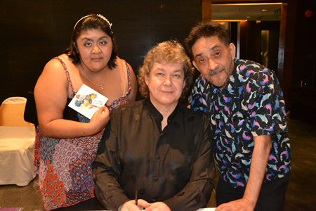 Vicky and Marlowe Malhotra pose with Hucky after getting their personalised CD.