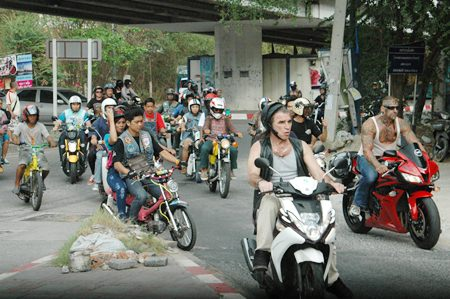 A small section of riders taking part in the annual ride for peace through Pattaya.