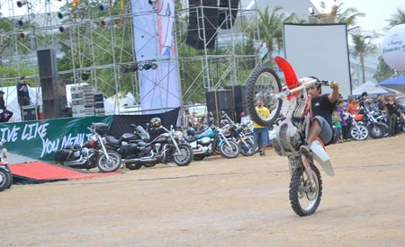 Motorcycle stunt shows helped keep the atmosphere lively.