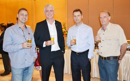 Russell Darrell from 88.5 FM; Brendan Daly, GM of the Amari Pattaya; Richard Margo, RM of the Amari Pattaya; and Stuart Saunders.