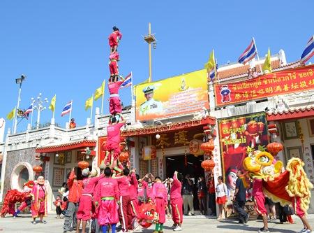 Chinese acrobats climb high into the sky at the Sawang Boriboon Foundation.