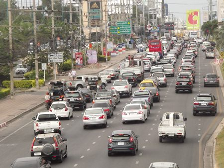 Traffic was tight all weekend throughout Pattaya.