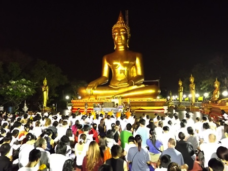 Lord Buddha's smiling statue at Wat Khao Phra Yai on Pratamnak Hill is one of many religious spots throughout Pattaya where thousands of worshippers solemnly joined people all over the Kingdom of Thailand to celebrate Makha Bucha Day last year, one of the holiest days on the Buddhist calendar.