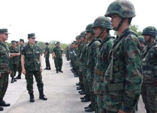 Capt. Wasant Sathornkij inspects the troops at the beginning of their training to take over airport security and coastal patrols in southern Thailand.