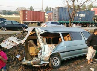 Children on their way to school were injured when a container truck lost its load and crashed into a school bus.