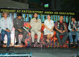 (L to R) Auttaphol Wannakij, director of TAT Pattaya Office, Pol. Col. Supachai Phuikaewkhum, superintendent of Pattaya station, Mayor Itthiphol Kunplome, Theeraporn Jitnawa, manager of Central Festival Pattaya Beach, Pol. Col. Somnuk Changate, superintendent of Nongprue station, and Prasan Nikaji, president of Burapa Motorcycle Club, announcing details of the Burapa Pattaya Bike Week 2014 at Central Festival Pattaya Beach.