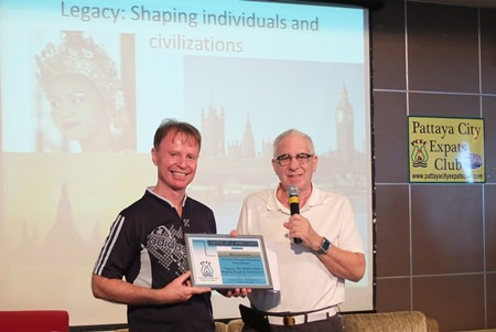 MC Richard Silverberg presents Ren with a Certificate of Appreciation as thanks for his well researched presentation, which saw one of PCEC's highest ever attendances.