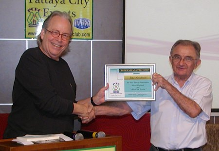 Lawrie McLoughlin thanks Jake for his very insightful talk, presenting him with a Certificate of Appreciation.