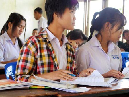 Visiting children in Myanmar.