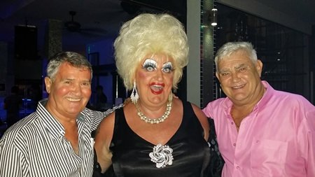 Owners of the Venue Residence, Ray Cornell (left), and Darrell Bevers (right), hosted a successful charity night with Lady Diamond Sitges (center).