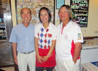Mashi Kaneta (left) and Henry Wong (right) with one of Bert's finest.