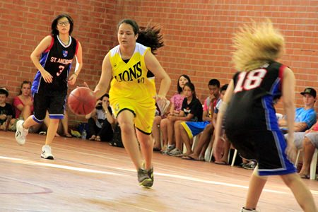The girls' basketball squad put up a creditable showing in their event.