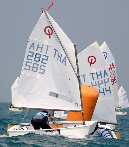 The Optimist sailors had to battle strong tidal conditions on the first day of racing.