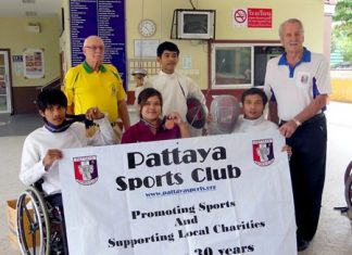 Pattaya Sports Club presents new fencing equipment to the Redemptorist Vocational School for People with Disabilities.