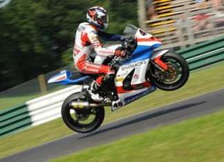 Ben Fortt goes airborne at Cadwell Park race track in Lincolnshire, England.