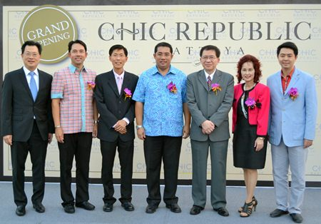 (L to R) Boontak Wangchareon, CEO of TMB; Ittipol Khunplume, Mayor of Pattaya; Kijja Pattamattayasonthi, CEO of the Chic Republic Co.; Sontaya Khunplume, Ministry of Culture Thailand; Rath Panitpan, CEO of the Land and House Bank; Kamolthip Paksuwan, Secretary of the Chic Republic Co.; and Poramet Ngampichet, former MP of the Pak Phalangchon Party attend the official opening ceremony held Feb. 27.