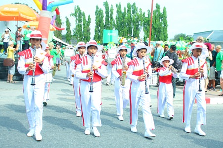 Pattaya School No. 3 leads the St. Patrick's Day Parade out onto the parade route.