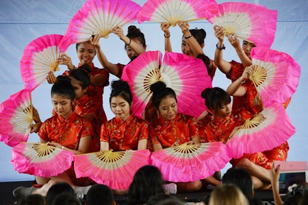 The Chinese fan dance was beautiful.