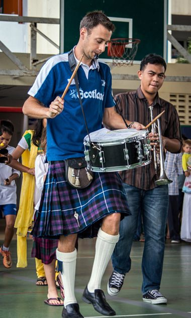 Mr Shiells led the Samba Band as it launched International Day at GIS.