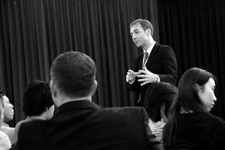 Assistant Head of Secondary Simon Miller answers students and parents' IB questions at Regents' IB Options Evening.