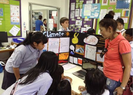 The scientific process is demonstrated using digital media and information posters.