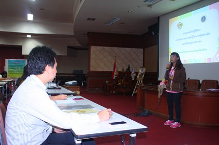 Nisarat Nanthawan Na Ayuthaya from the Institute of Nutrition at Mahidol University gives a talk on 'What is Child Protection' in a workshop to increase awareness of the need for child protection.