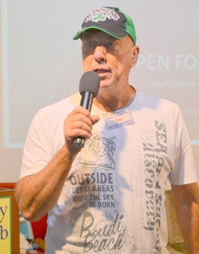 Sartorially elegant in his Bondi Beach T-shirt and Guinness cap, board member Roy introduces the Open Forum with a reminder that St Patrick's Day is on the 17th of March, and to join the March! Assemble at Alcazar 2nd Rd 2pm.