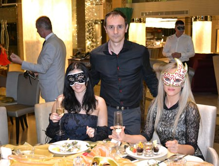 (L to R) Irena and Alex from Russian Real Estate Magazine and Anna from the Tulip Group enjoy the evening fun.