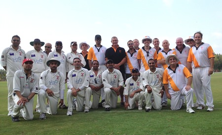 Pattaya C.C. Thoroughbreds and RAM C.C. players pose for a group photo prior to last weekend's match.