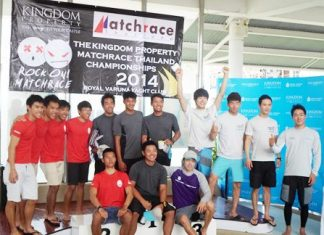 The top ranked skippers and crews pose on the podium at Royal Varuna Yacht Club.