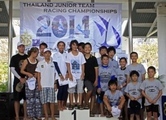The top three teams representing Bangkok Patana School, Bangkok Prep and Regents International School Pattaya pose on the podium during the prize-giving ceremony.