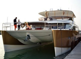 The Heliotrope, a 20-meter (65-ft.) luxury, solar-assisted catamaran by shipyard Bakri Cono.