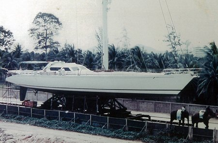 This 1991 photo shows the Mirabella 40 being towed to its launch point at Ocean Marina by two elephants, pictured bottom right.
