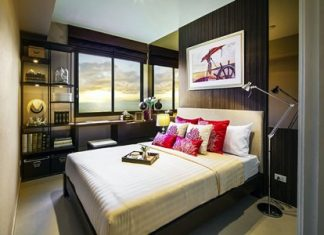 A model bedroom on display at the newly opened Unixx South Pattaya show suite.