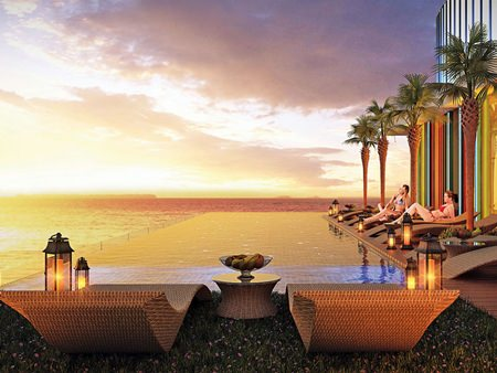 The roof-top lounge and infinity pool will offer unrivalled sea views.