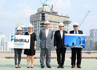 Bhiraj Buri Group executives (from left to right): Nawawan Aukarapasuchart – General Manager, Panittha Buri – Executive Director, Dr. Prasarn Bhiraj Buri – President & CEO, Pitiphatr Buri - Executive Director, and Poowanai Tanti-Alongkarn – Project Director (Civil & Structure) pose for a photo during a press briefing for the Bhiraj Tower project.