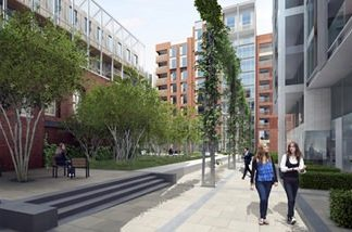 An artist's rendering shows Fitzroy Place near Tottenham Court Road. The project received a positive response from Thai investors during a recent sales event in Bangkok.