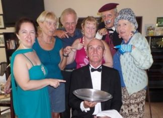 (From left-right rear): Mara Swankey as Mary, Director Wendy Khan, Mike Pence as Teddy Turf, Eileen Denning as Rachel Devine, Duane Hauch as Monsieur Rule/Detective Rule, Foo Smith as Wacky Aunt Edwina, and of course the butler played by Chris Harman (seated).