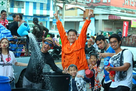 Scorching heat and foreboding clouds couldn't dampen the enthusiasm of Pattaya-area residents and tourists as they brought the annual Songkran festival to a water-soaked close.