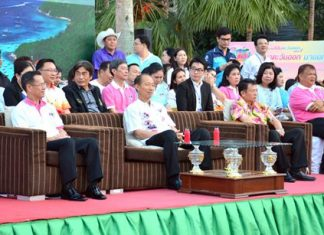 (Seated, L to R) Deputy Governor Pongsak Preechawit, Governor Khomsan Ekachai and Banglamung District Chief Sakchai Taengho enjoy the entertainment.