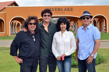 (L to R) Dennis Dila (PR) from Silverlake Vineyard; John Nuvo, leading rock artist from Thailand; Sue Kukarja, PMTV Communication Director; and Surachai Tangjaitrong, owner of Silverlake Vineyard.