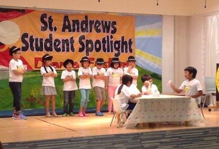 Students performing their improvisational skits.