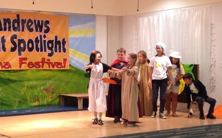 The winning team from St. Andrews, Green Valley, having fun performing their skit.