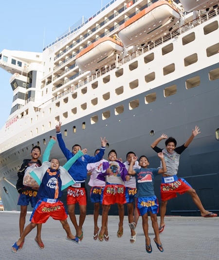 The Muay Thai boxers from the Children's Home enjoyed their time on the ship.