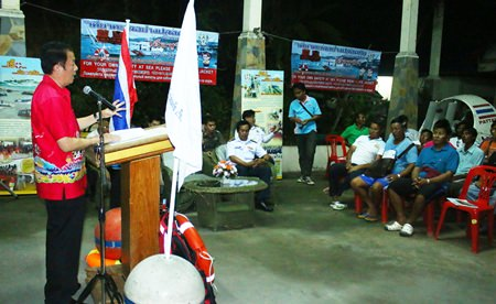 Banglamung District Chief Sakchai Taengho opens training for boat operators in safety and seamanship during a pre-Songkran workshop in Pattaya.