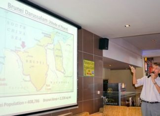 PCEC member Ian Frame spoke at the March 30th meeting. 'Living in Brunei' was his very interesting topic.