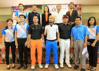 Rujirapun Juangroongruangkit (back row center), Vice President of Pattana Golf Club & Resort, poses for a photo with the organizers, sponsors and winners from last year after the press conference announcing the Pattana Golf Challenge 2014, the first round of which will be held on Tuesday 29th April.