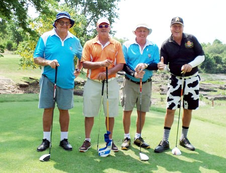 Barney, Roachy Capt Bob and Rosco on the tee at Panorama.